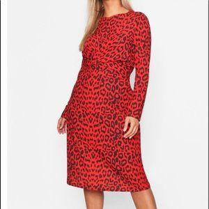 Plus Leopard Print Wrap Tie Waist Dress